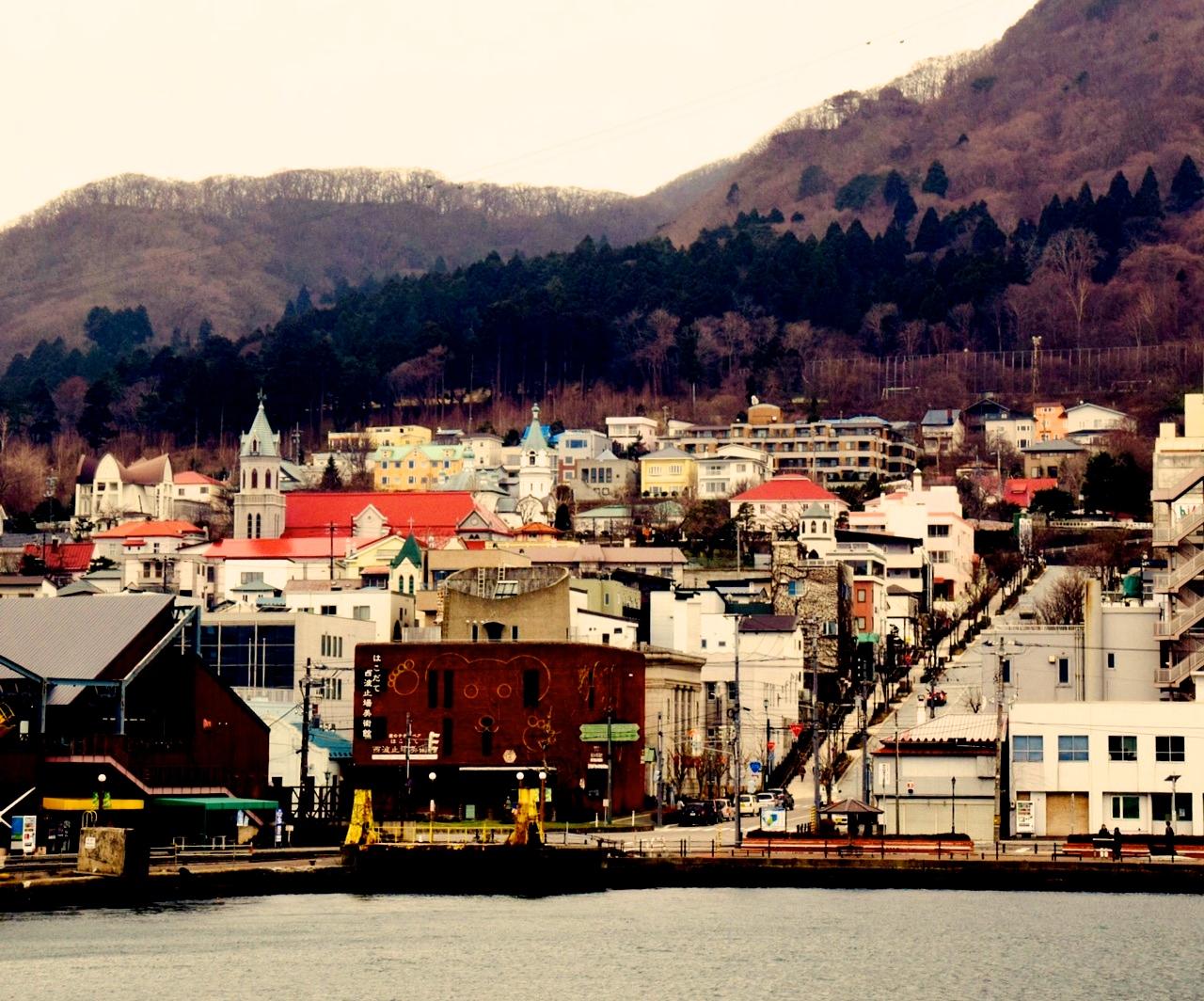 函館湾からみる元町の街並